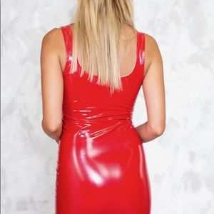 e455114f0a9f2 Dresses | Hot Red Patent Leather Mini Dress | Poshmark